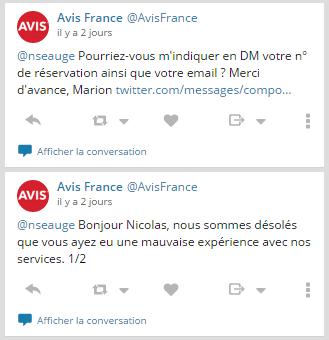 Réaction d'Avis France sur Twitter